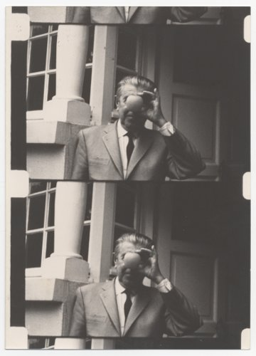 "René Magritte during the shooting of Luc de Heusch' ""Magritte ou la leçon de choses"""